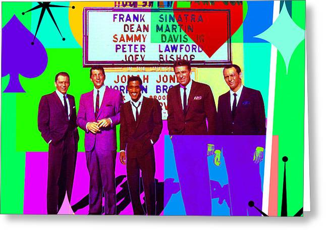 Mid Century Modern Abstract The Rat Pack Frank Sinatra Dean Martin Sammy Davis Jr 20190120 Sq P112 Greeting Card