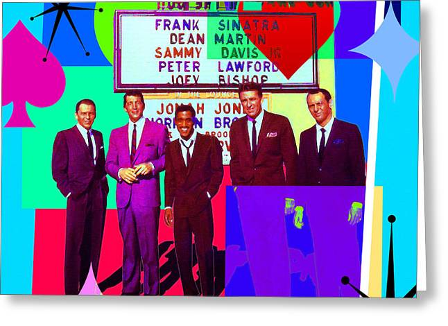 Mid Century Modern Abstract The Rat Pack Frank Sinatra Dean Martin Sammy Davis Jr 20190120 Sq P160 Greeting Card