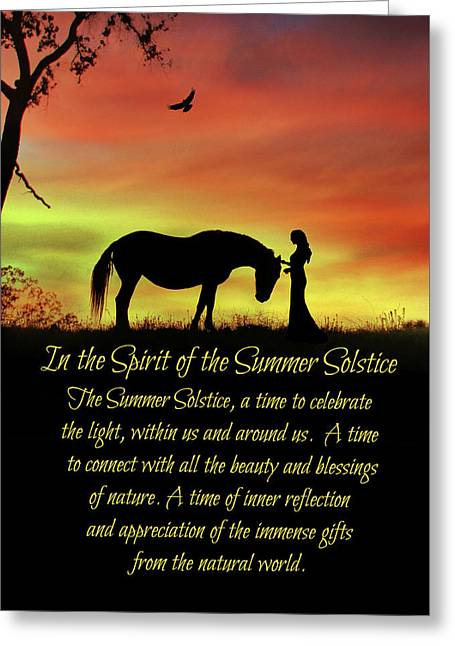 Mid Summer's Eve Litha Summer Solstice Horse In The Spirit Of The Summer Solstice Greeting Card