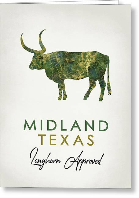 Midland Texas Dark Marble Greeting Card