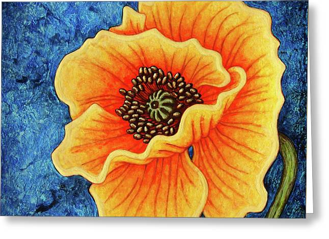 Greeting Card featuring the painting Midnight Flame by Amy E Fraser