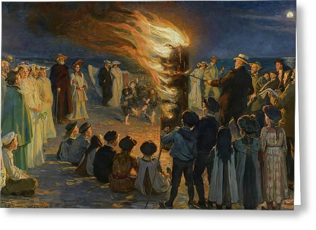 Midsummer Eve Bonfire On Skagen's Beach, 1906 Greeting Card