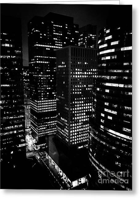 Midtown Manhattan, Nyc, Clear Winter Night Greeting Card by JMerrickMedia