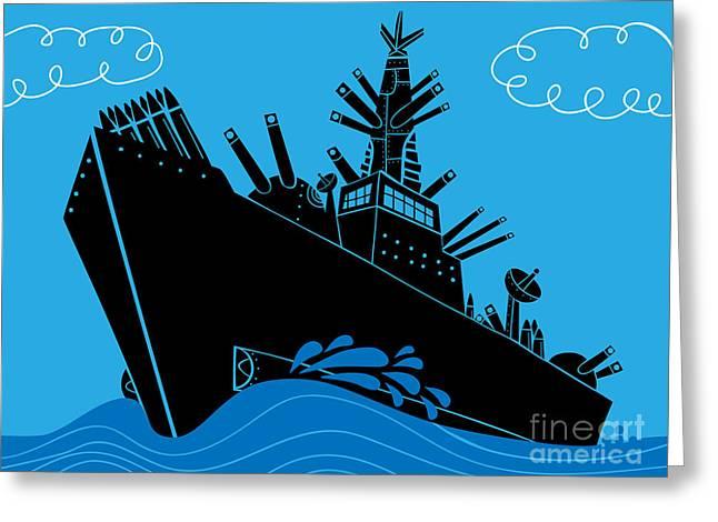Military Ship With Guns Greeting Card