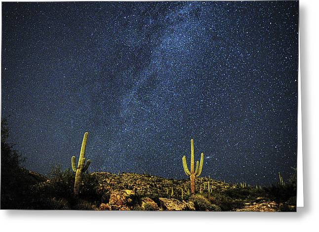 Milky Way And Cactus Greeting Card