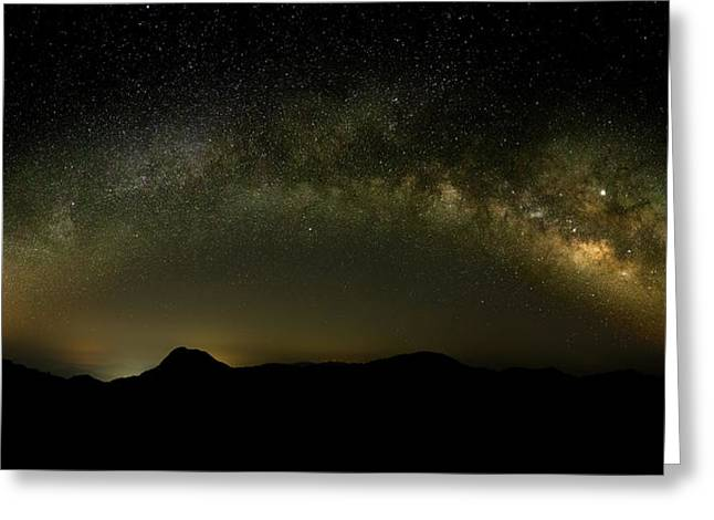Milky Way Arch Panorama Over Tianping Mountain And Ridge-line Greeting Card