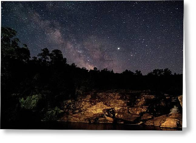 Milky Way At Rocky Falls Greeting Card