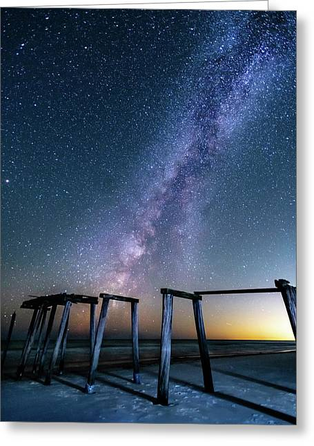 Milky Way Over Gulf Pier Greeting Card