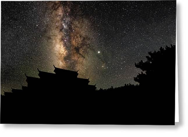 Milky Way Over The Dark Temple Greeting Card