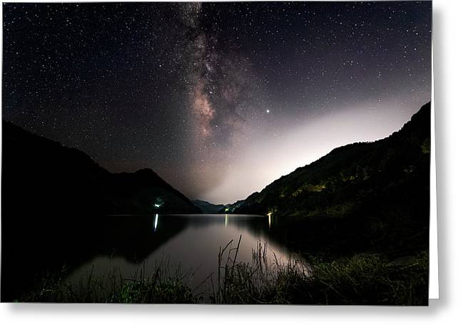 Milky Way Over The Ou River Near Longquan In China Greeting Card