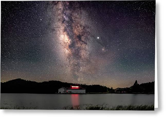 Milky Way Over The Tianping Mountain Lake Temple Greeting Card