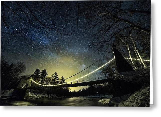 Milky Way Over The Wire Bridge Greeting Card