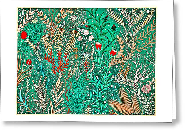 Millefleurs Home Decor Design In Brilliant Green And Light Oranges With Leaves And Flowers Greeting Card