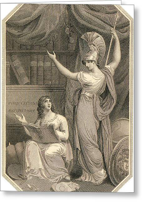 Minerva Directing Study To The  Attainment Of Universal Knowledge Greeting Card