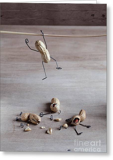 Miniature With Peanut People Trying To Greeting Card