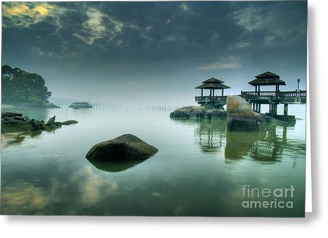 Misty Morning As Seen Over Rocks Greeting Card