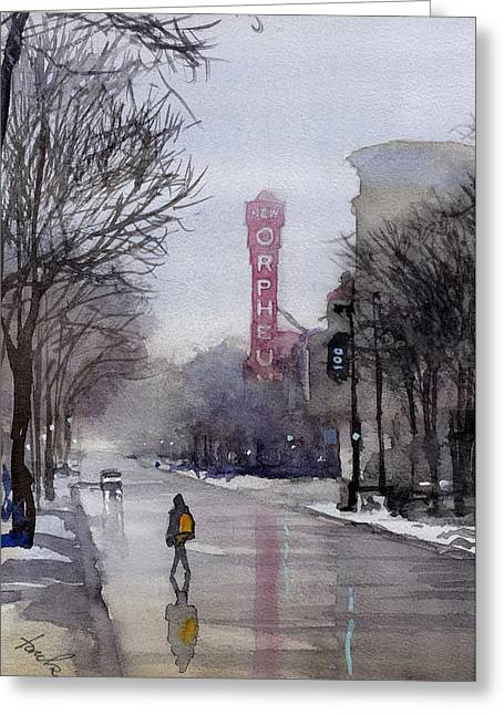 Misty Morning On Stae Street Greeting Card
