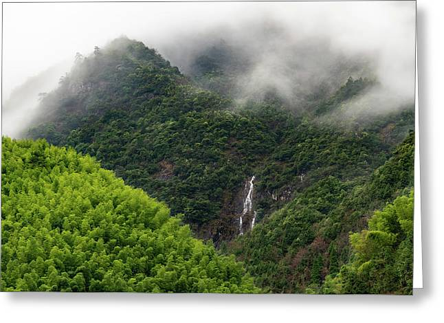 Misty Mountain Waterfall Greeting Card