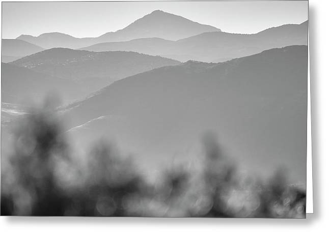Misty Mountains. At Sunset. Huetor. Square Greeting Card