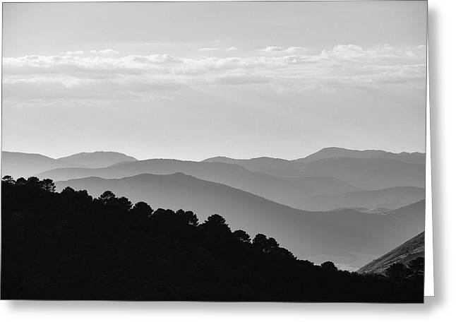 Misty Mountains. Yesterday At Sunset Greeting Card