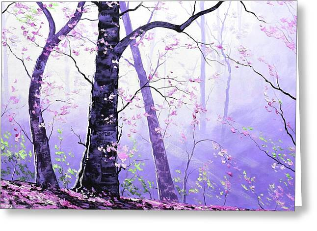 Misty Pink Trees Forest Greeting Card