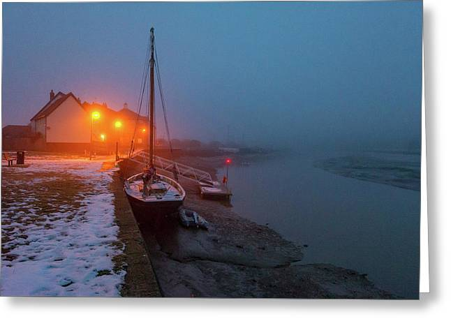 Greeting Card featuring the photograph Misty Rowhedge Winter Dusk by Gary Eason