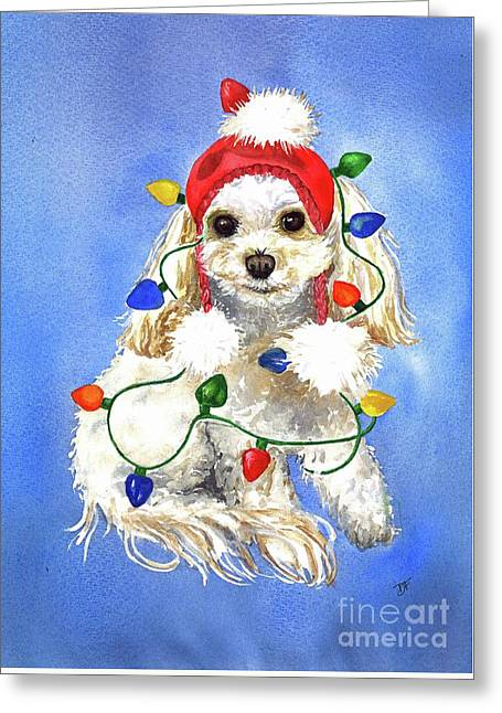 Greeting Card featuring the painting Mocha Merry And Bright by Diane Fujimoto