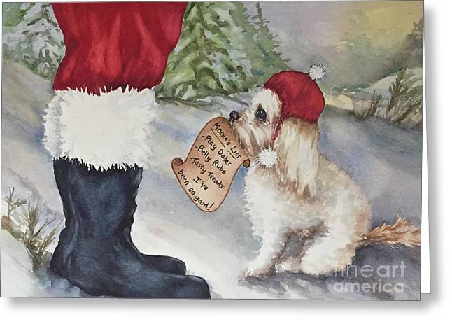 Greeting Card featuring the painting Mocha's List by Diane Fujimoto