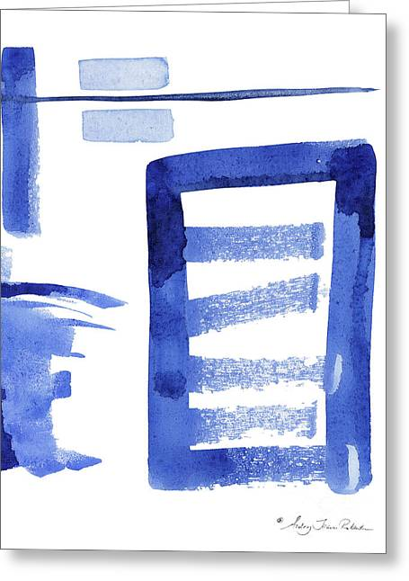 Modern Asian Inspired Abstract Blue And White 2 Greeting Card
