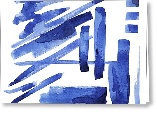 Modern Asian Inspired Abstract Blue And White 3 Greeting Card