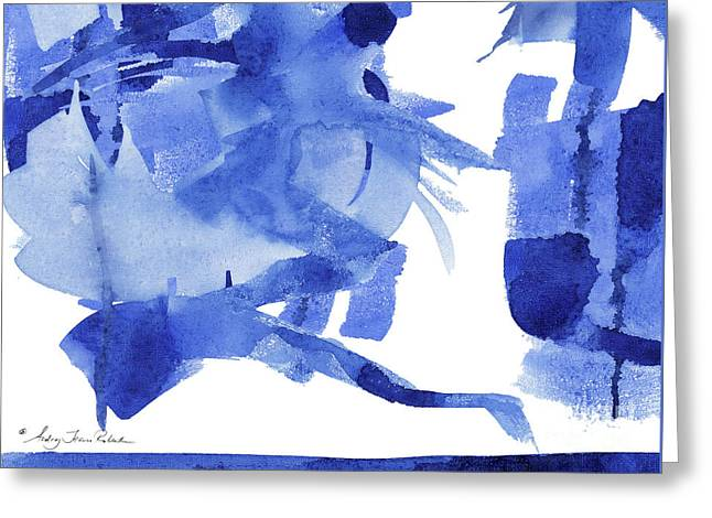 Modern Asian Inspired Abstract Blue And White 4 Greeting Card