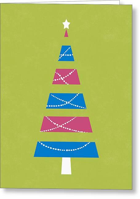 Greeting Card featuring the digital art Modern Glam Christmas Tree 3- Art By Linda Woods by Linda Woods