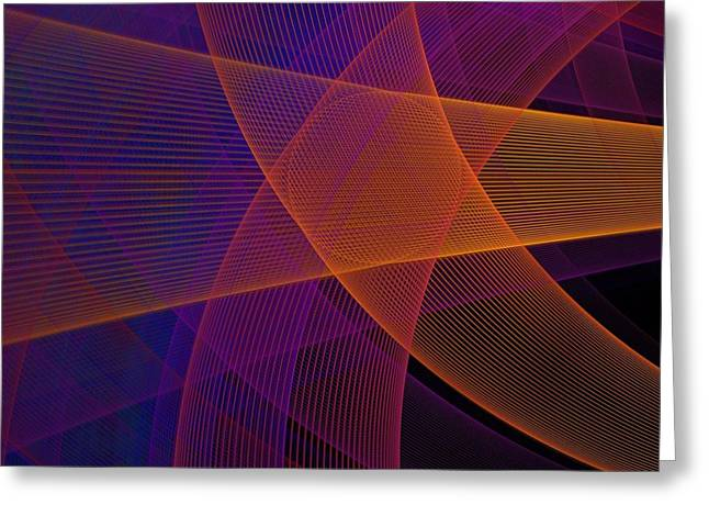 Modern Pink, Purple And Orange Fractal Greeting Card