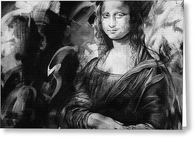Mona Lisa Black Greeting Card