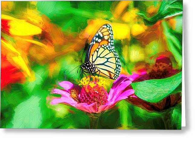 Monarch Butterfly Impasto Colorful Greeting Card