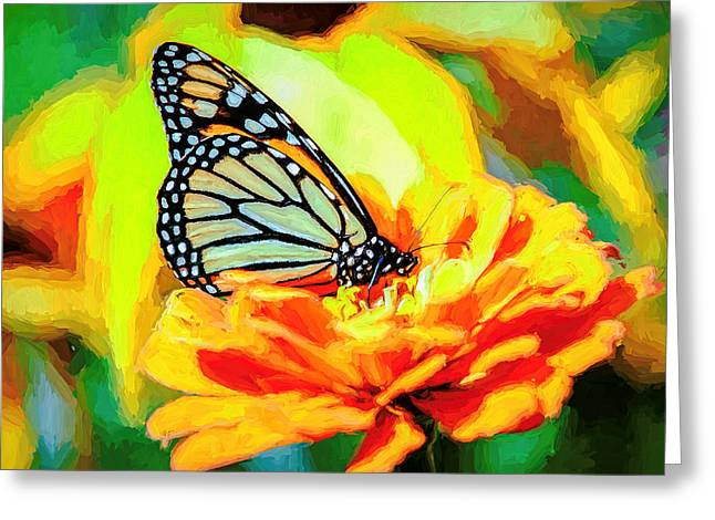 Monarch Butterfly Van Gogh Style Greeting Card
