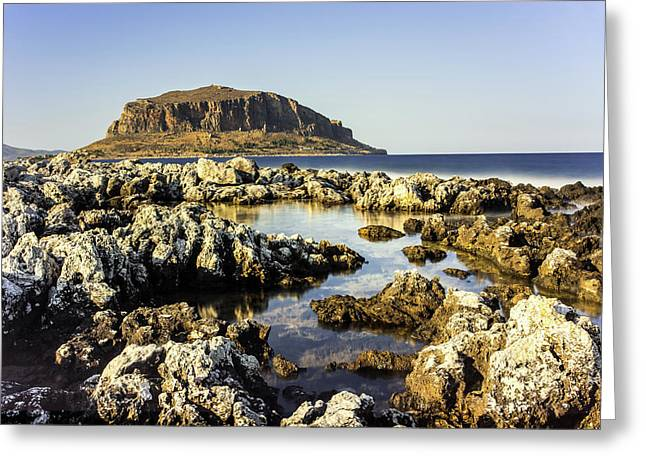 Greeting Card featuring the photograph Monemvasia Rock by Milan Ljubisavljevic