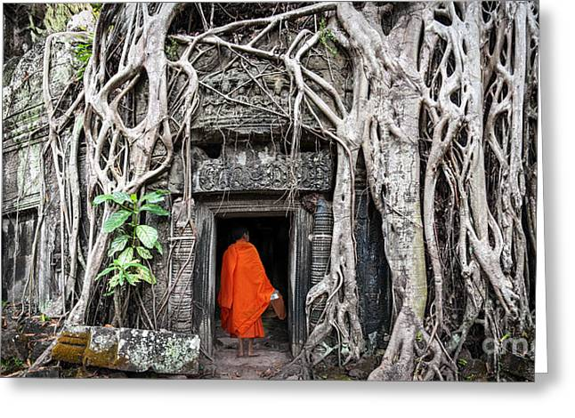 Monk In Angkor Wat Cambodia. Ta Prohm Greeting Card by Banana Republic Images