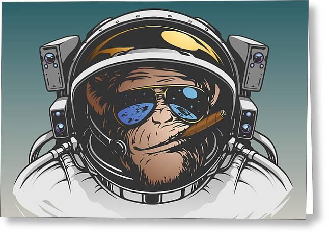 Monkey Astronaut Illustration Greeting Card