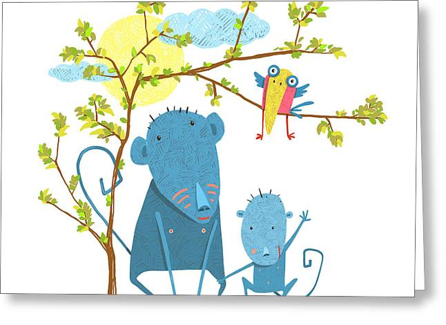 Monkey Characters Mother And Child In Greeting Card