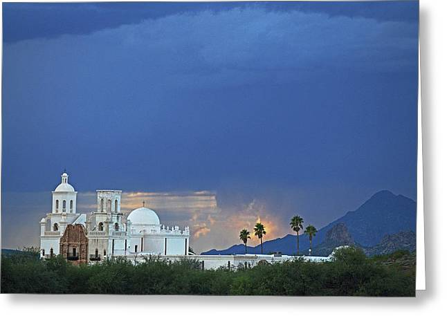 Monsoon Skies Over The Mission Greeting Card