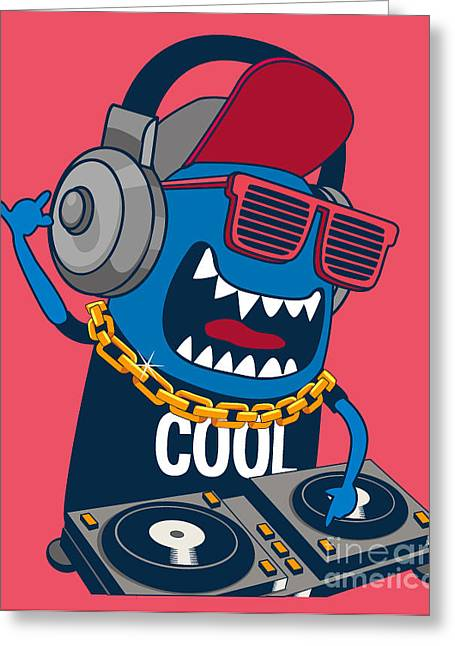 Monster Dj, Party, Music Greeting Card