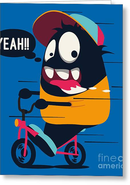 Monster On The Bicycle Greeting Card