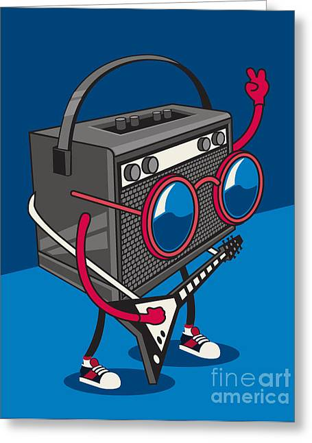 Monster Rock Star Vector Design For Tee Greeting Card