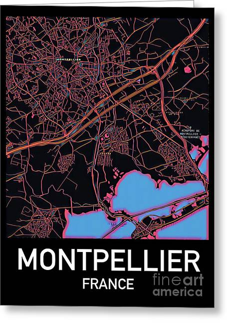 Montpellier City Map Greeting Card