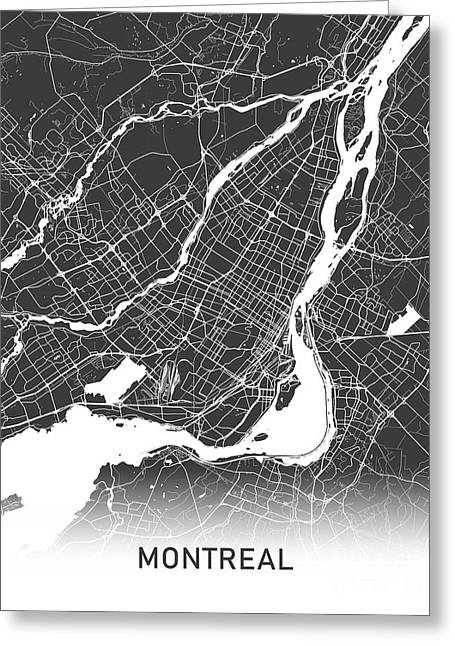 Montreal Map Black And White Greeting Card
