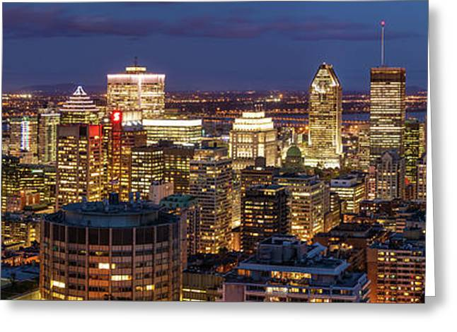 Greeting Card featuring the photograph Montreal Panorama At Night by Pierre Leclerc Photography