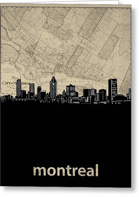Montreal Skyline Map Greeting Card