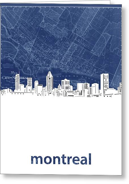 Montreal Skyline Map Blue Greeting Card