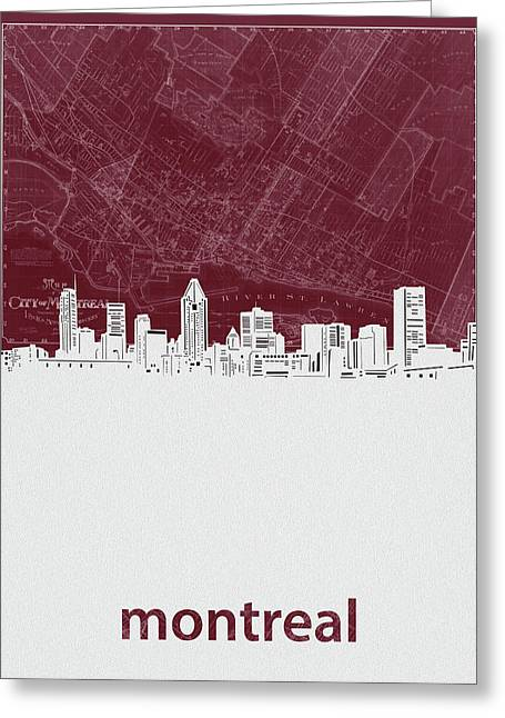 Montreal Skyline Map Red Greeting Card